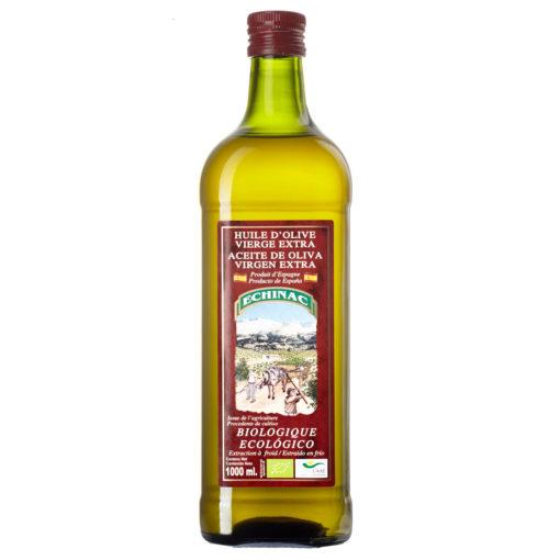 Botella de cristal de 1 litro de aceite de oliva virgen extra ecológico Echinac