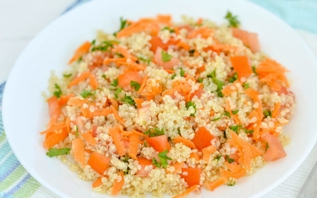 Quinoa salad with lemon and Echinac Extra Virgin olive oil.