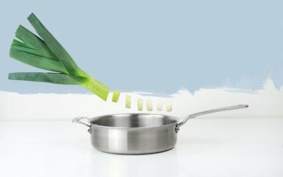 Receta: Sopa cremosa de puerros con pisto y aceite de Oliva Echioliva